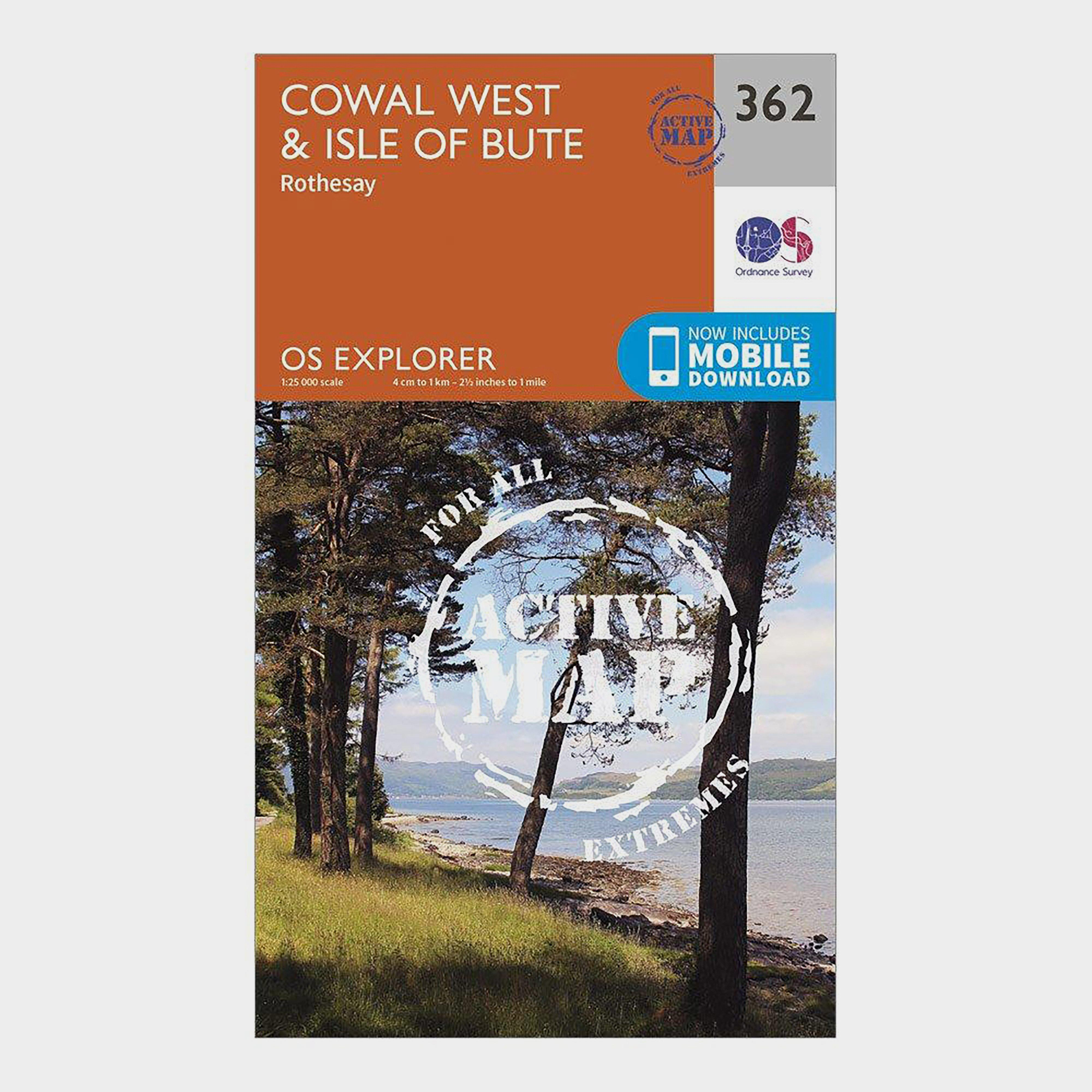 Ordnance Survey Explorer Active 362 Cowal West and Isle of Bute Map With Digital Version OrangeD